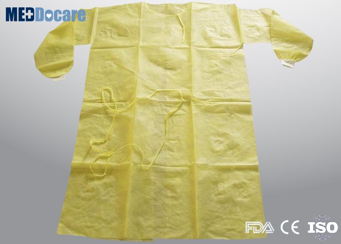 Yellow disposable isolation gowns