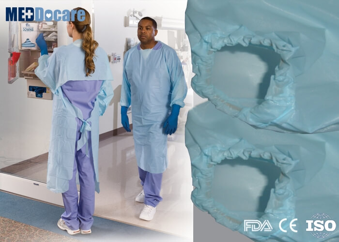 blue plastic isolation gowns